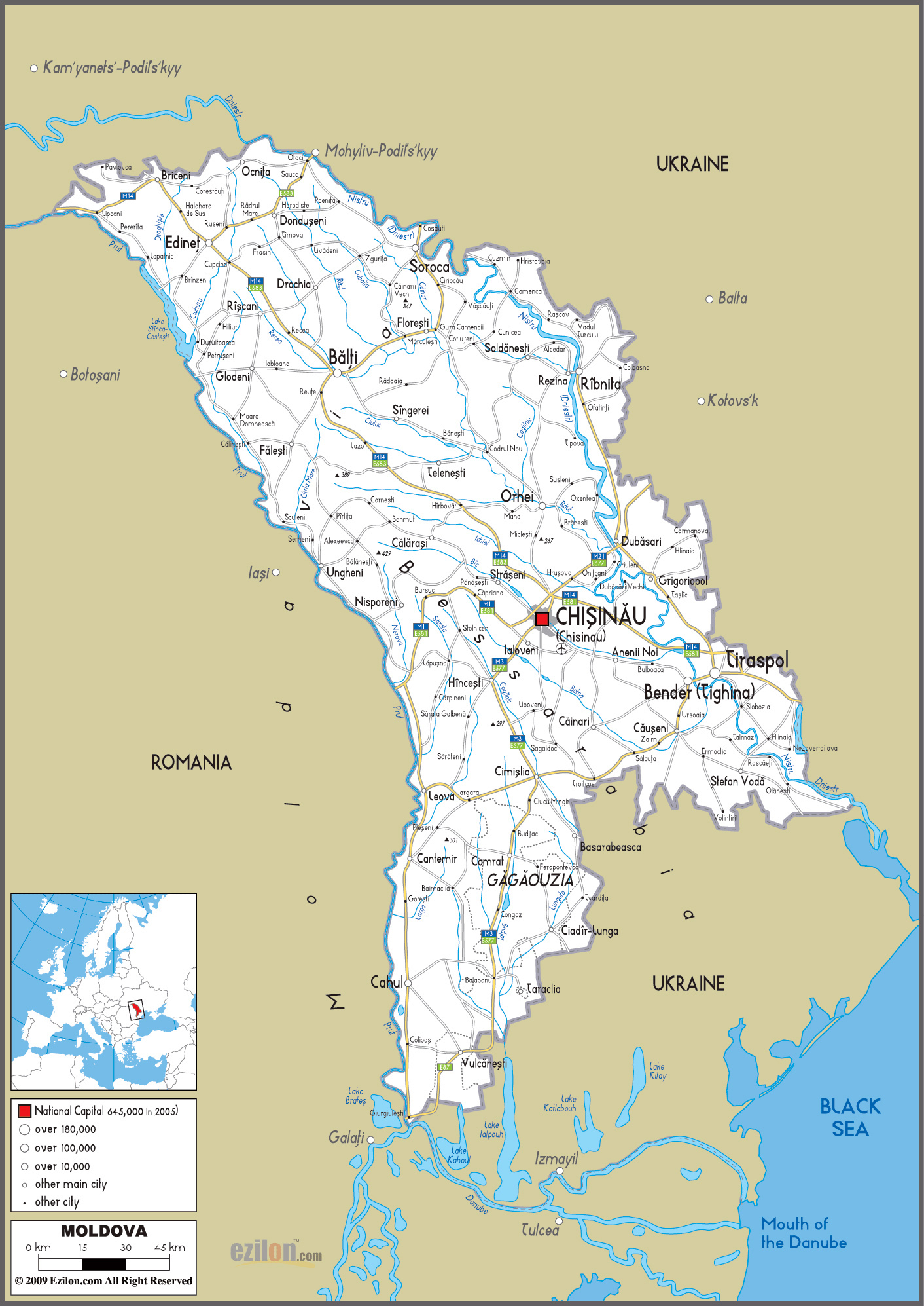 Large road map of Moldova with cities and airports Moldova