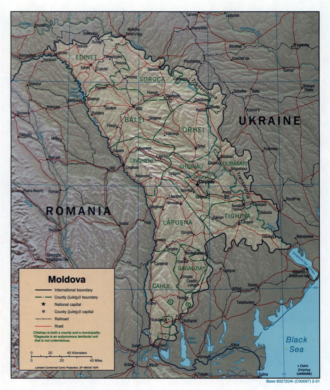 Large scale political and administrative map of Moldova with relief, roads, railroads and major cities - 2001