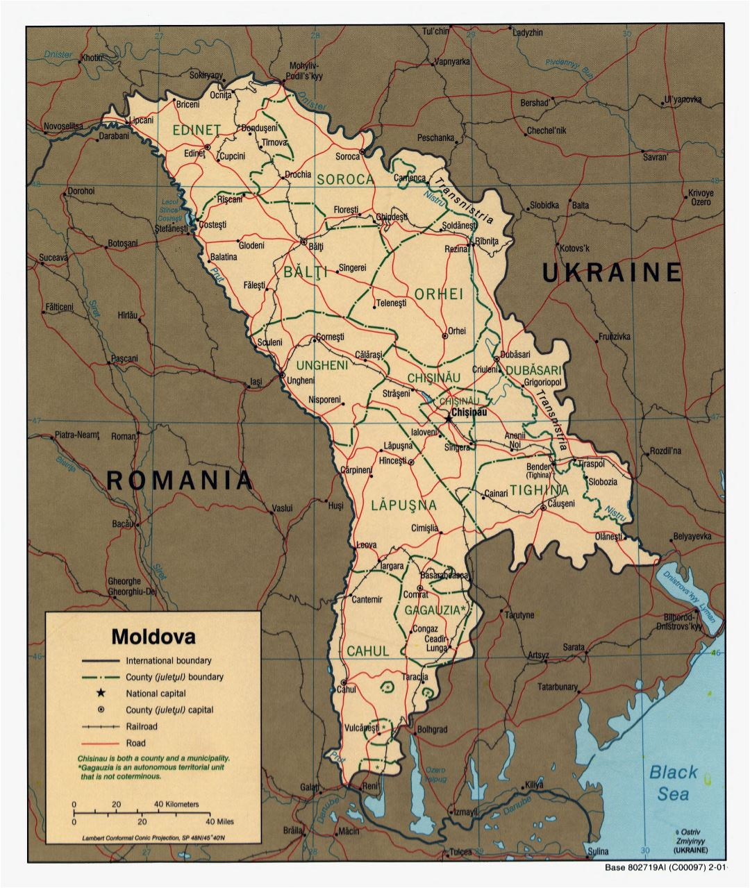 Large scale political and administrative map of Moldova with roads, railroads and major cities - 2001
