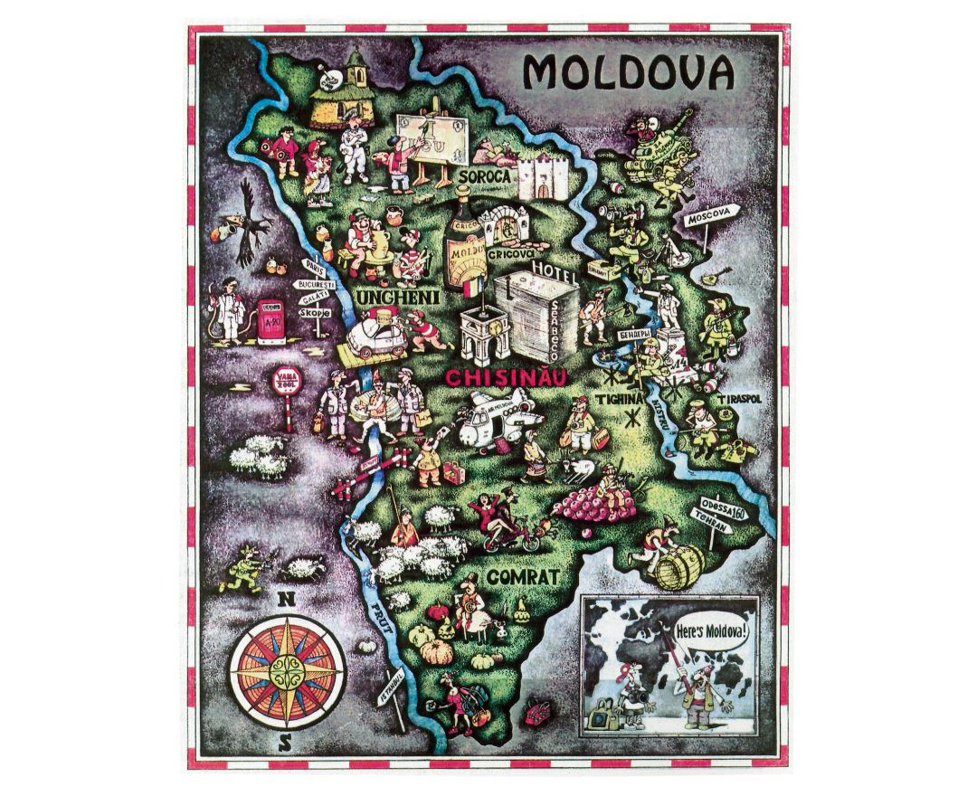 Large tourist illustrated map of Moldova