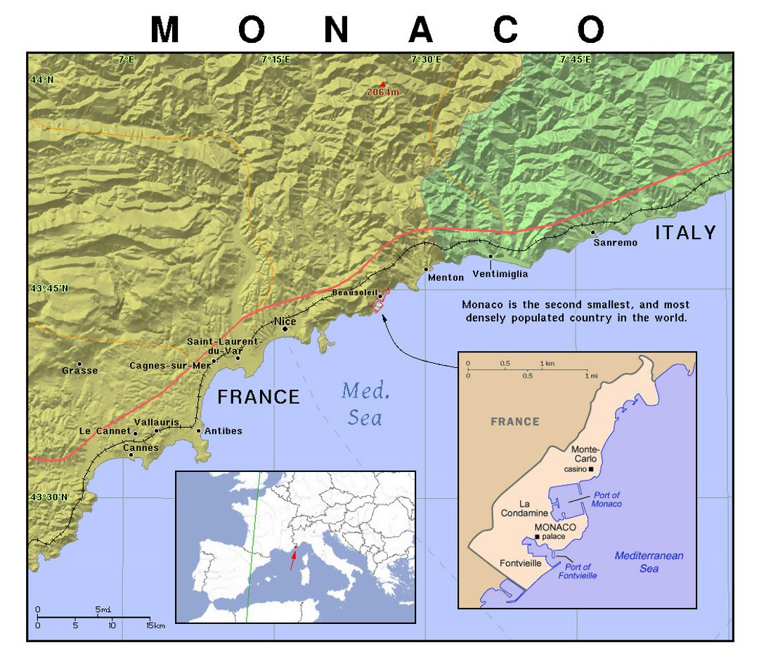 Detailed political map of Monaco with relief