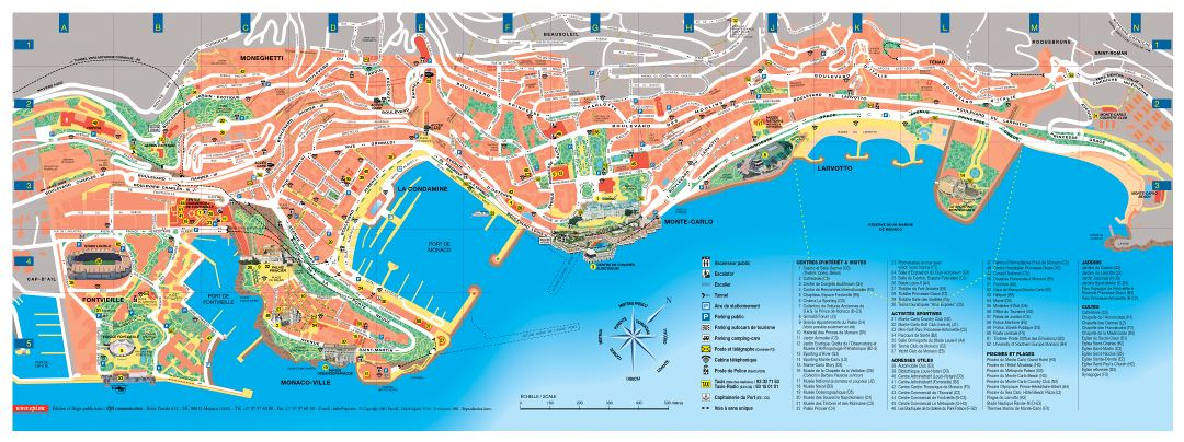 Large detailed tourist map of Monaco