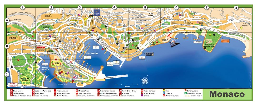 Large detailed tourist map of Monaco with street names