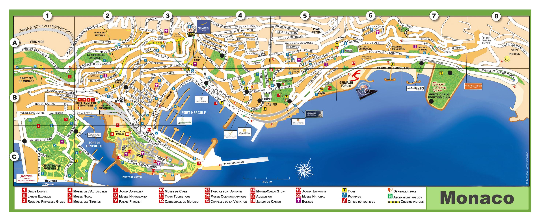 Large Detailed Tourist Map Of Monaco With Street Names Monaco