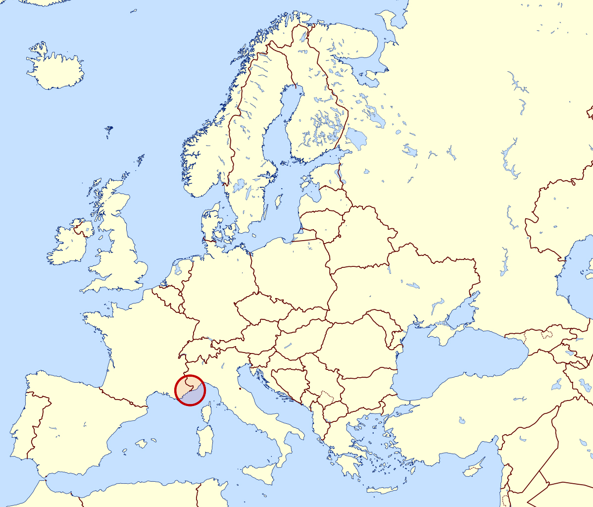 Large location map of Monaco in Europe | Monaco | Europe