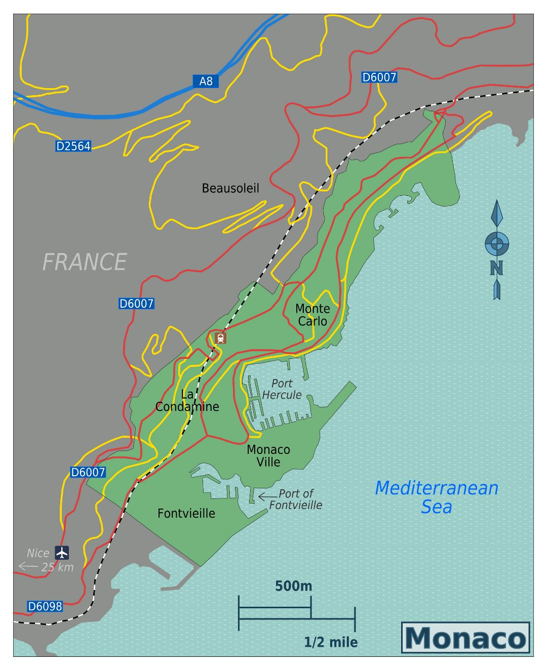 Large map of Monaco with roads