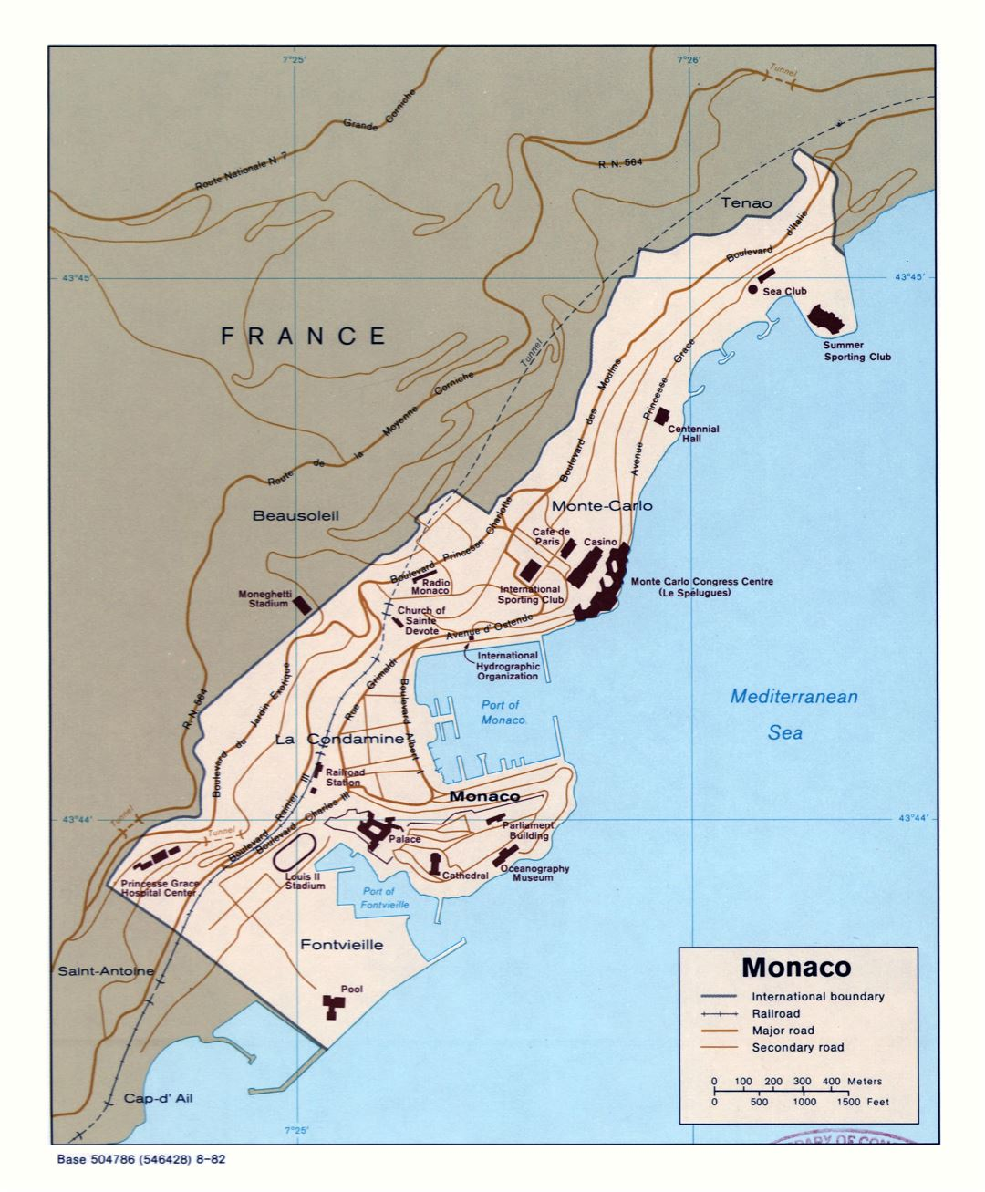 Large scale political map of Monaco with roads, railroads and buildings - 1982