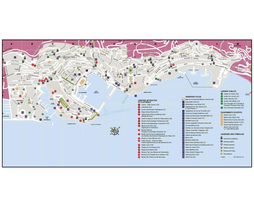 Maps of Monaco Detailed map of Monaco in English Tourist map