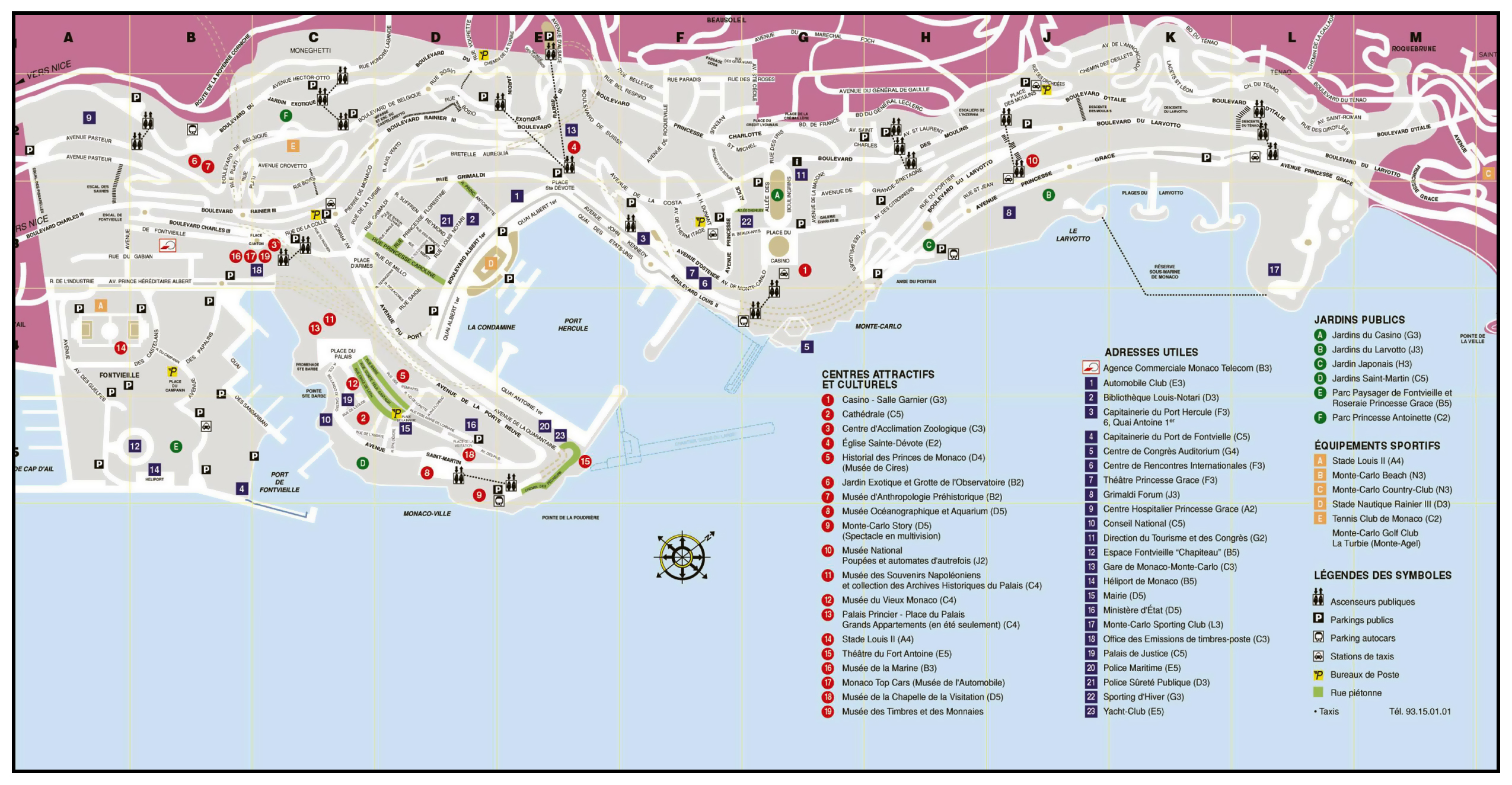 large tourist map of monaco  monaco  europe  mapsland  maps of  - large tourist map of monaco