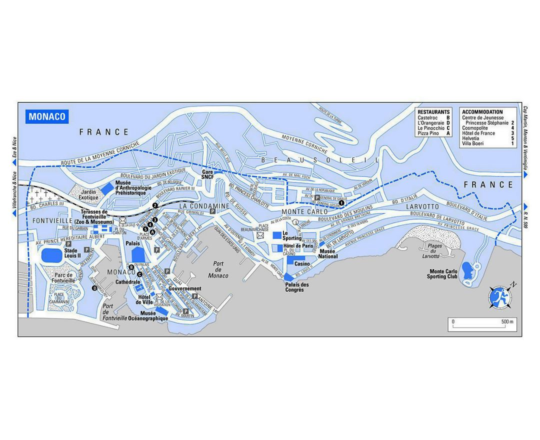 maps of monaco  detailed map of monaco in english  tourist map  - tourist map of monaco with roads