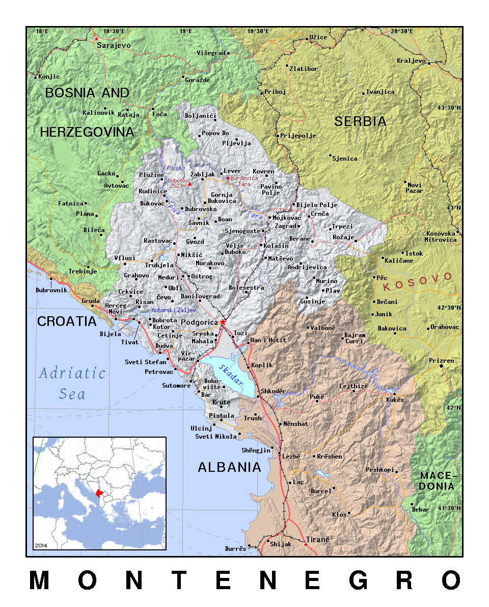 Detailed political map of Montenegro with relief ...