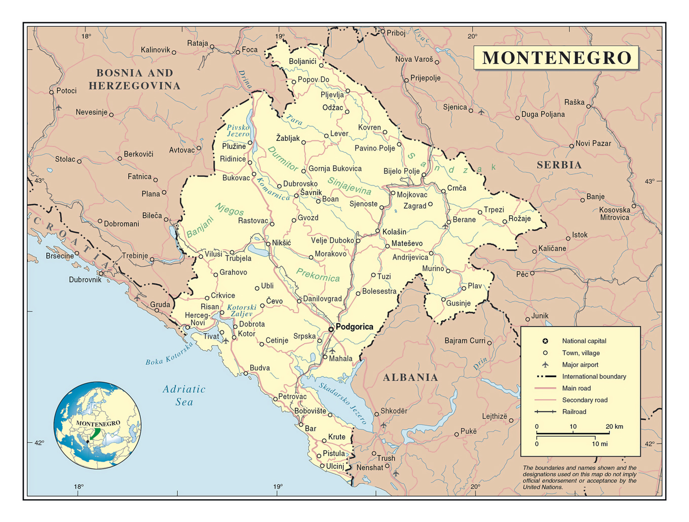Detailed political map of Montenegro with roads cities and airports