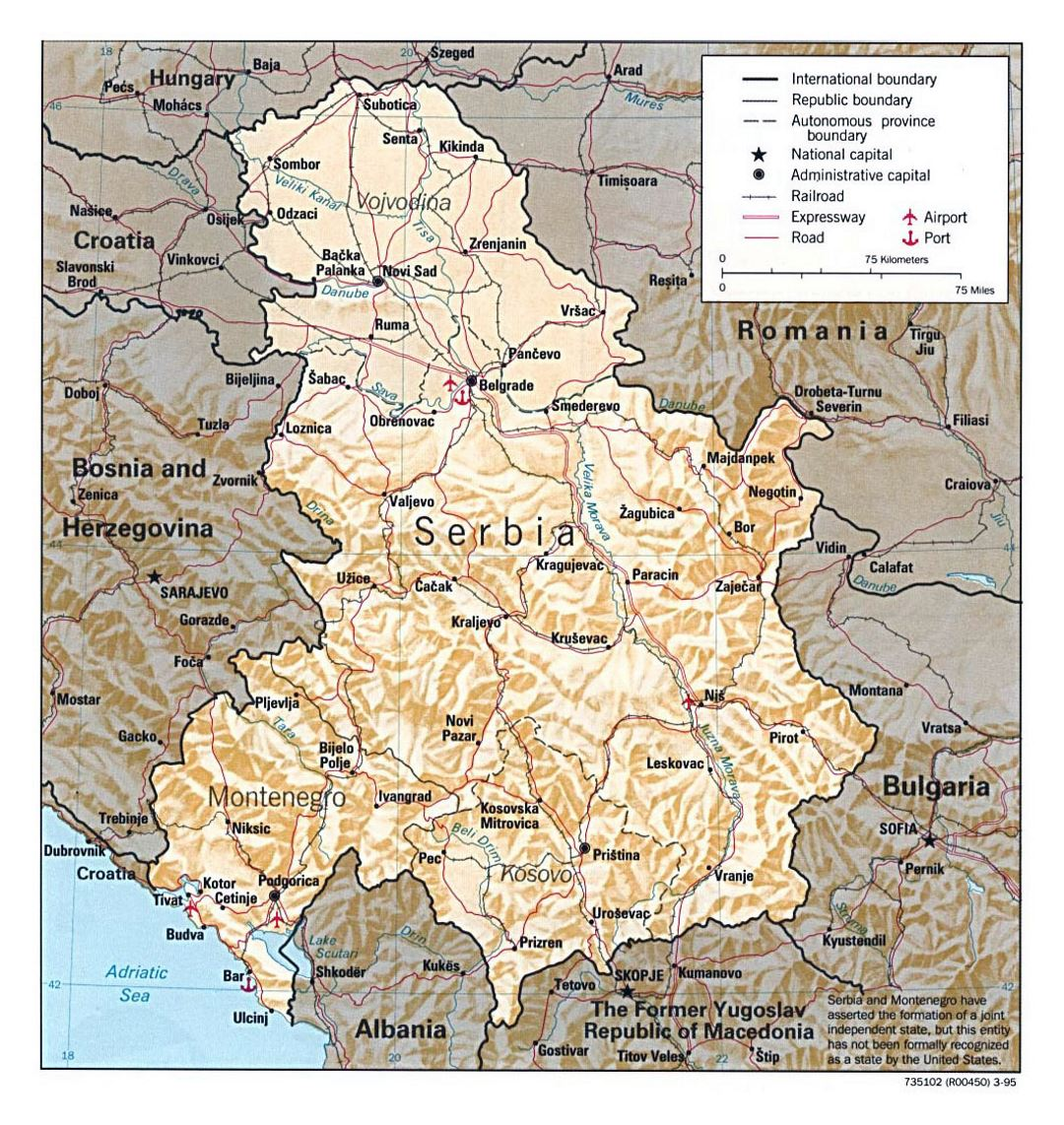 Detailed political map of Serbia and Montenegro with relief - 1995
