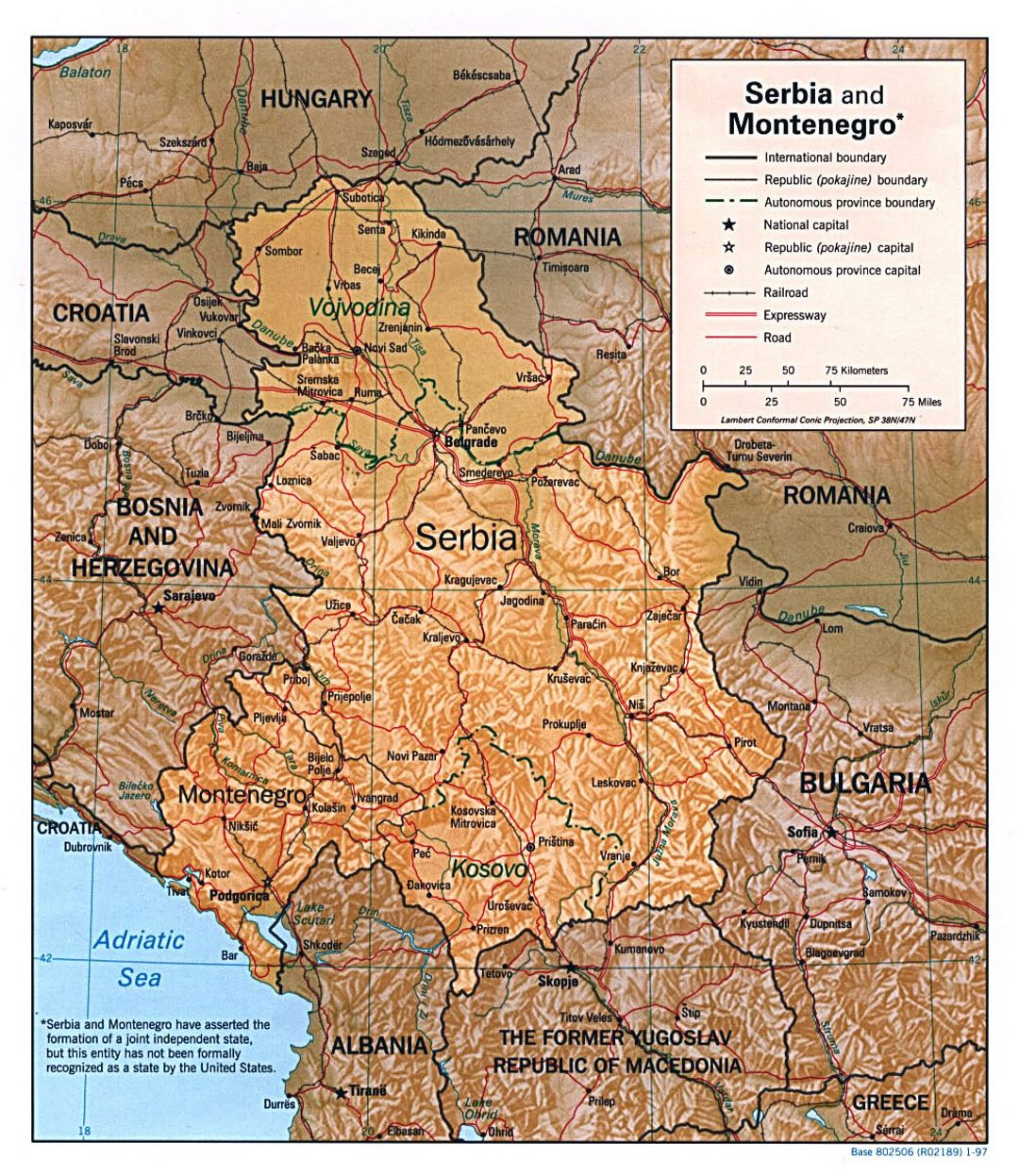 Detailed political map of Serbia and Montenegro with relief, roads, railroads and major cities - 1997
