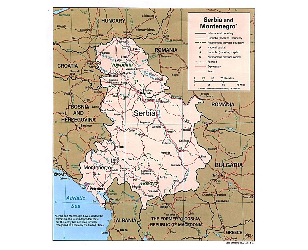 Detailed political map of Serbia and Montenegro with roads, railroads and major cities - 1997