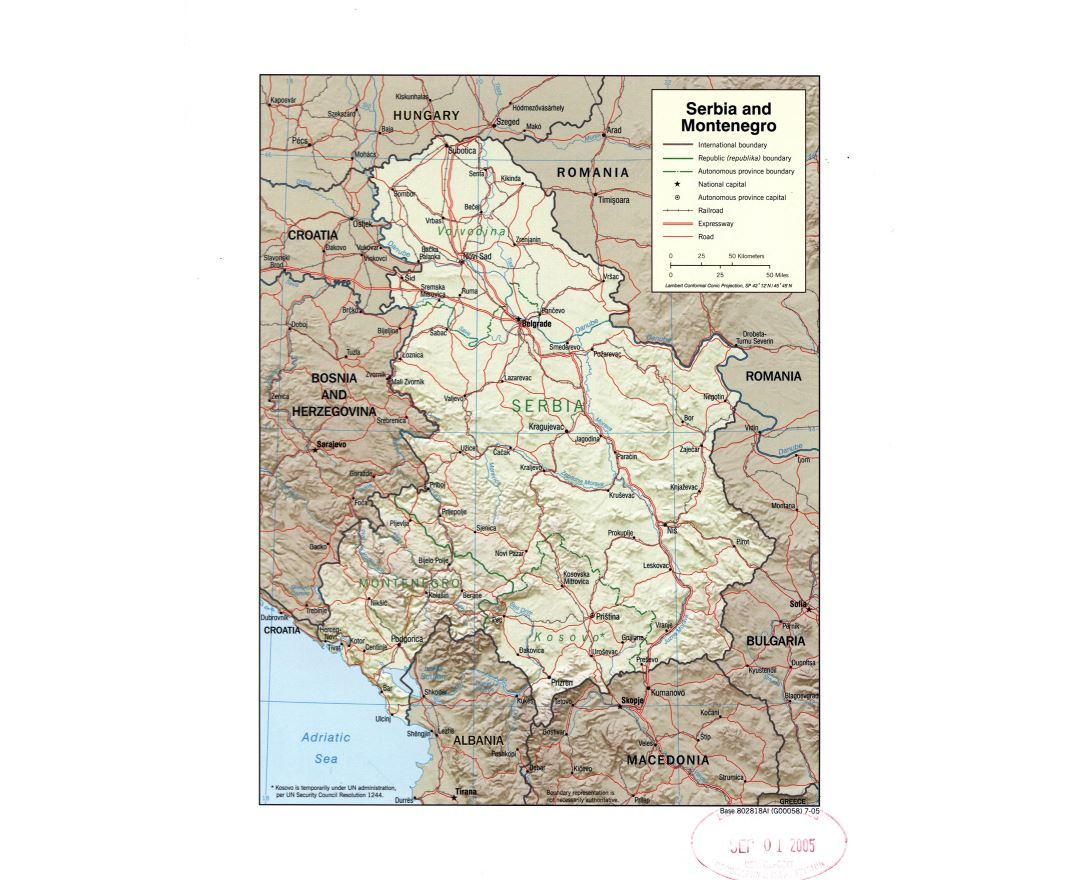 Large detail political map of Serbia and Montenegro with relief, marks of roads, railroads and large cities - 2005