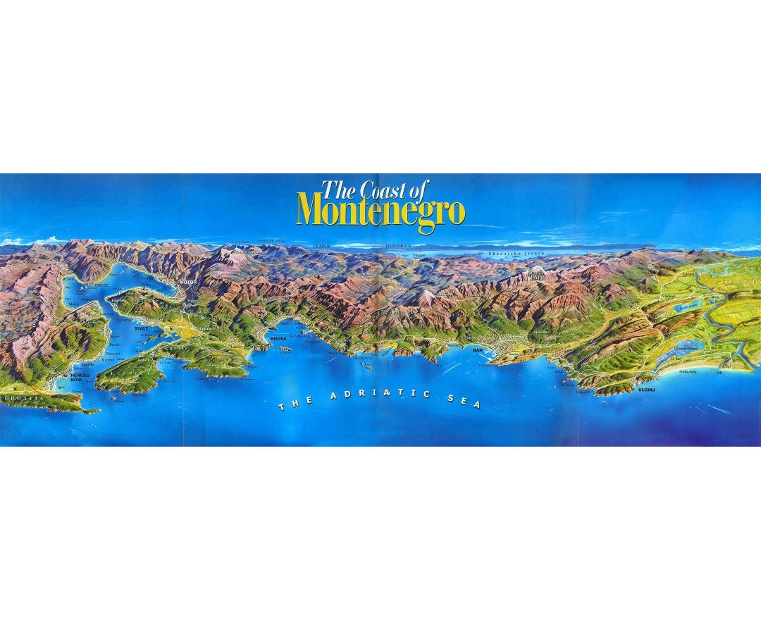 Large detailed panoramic map of the Coast of Montenegro
