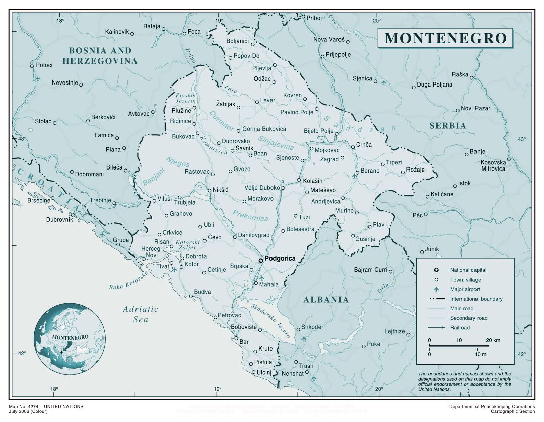 Large detailed political map of Montenegro