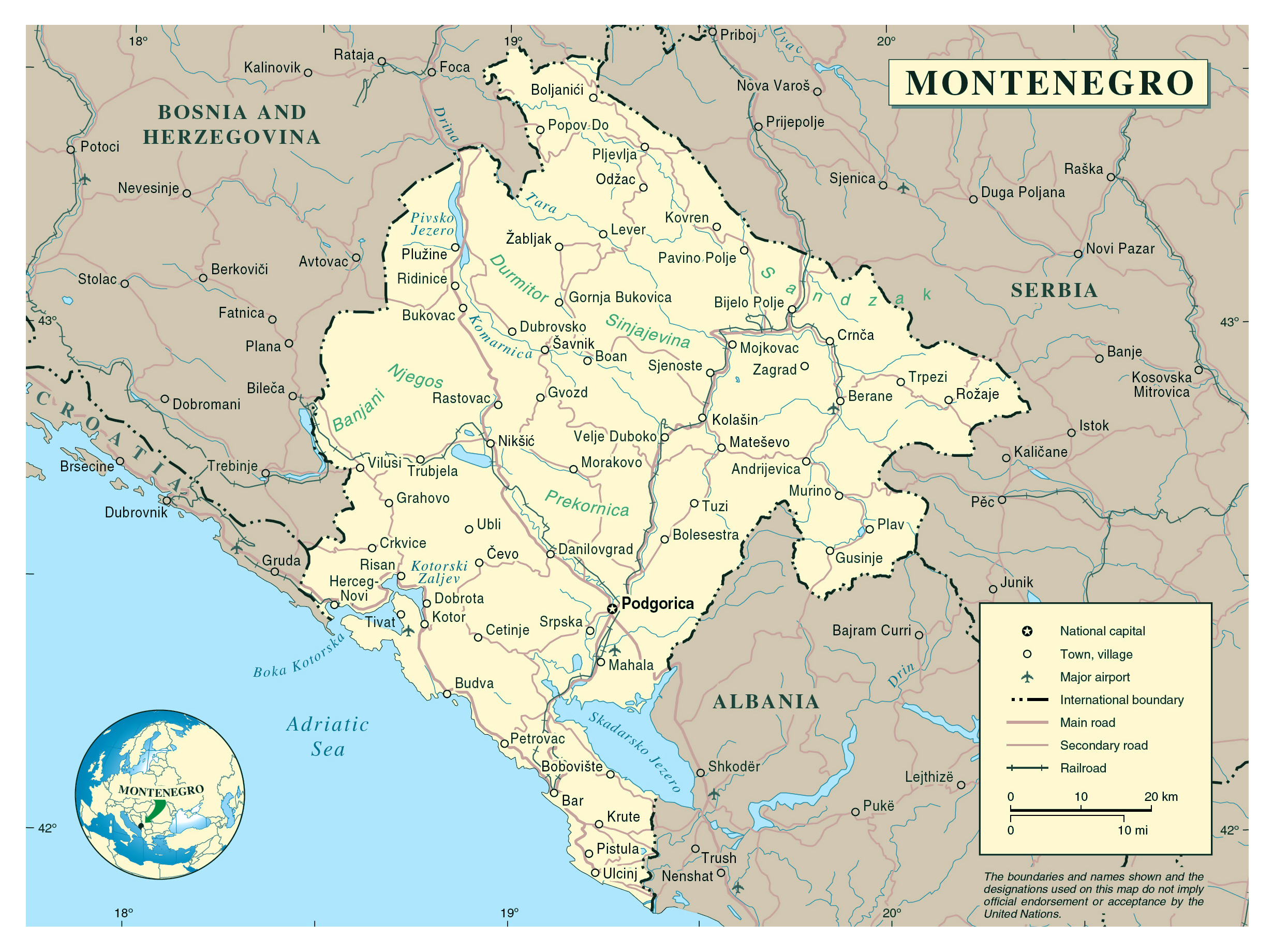 Large Detailed Political Map Of Montenegro With Cities Montenegro
