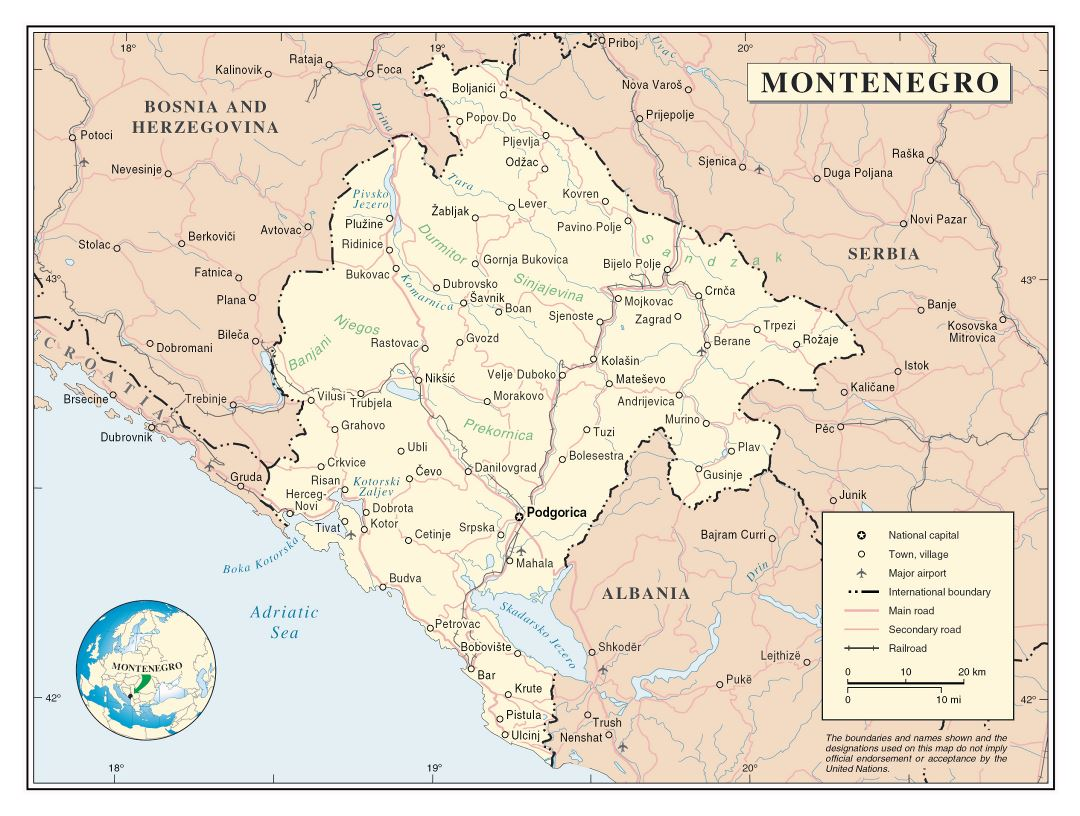 Large detailed political map of Montenegro with roads, cities and airports