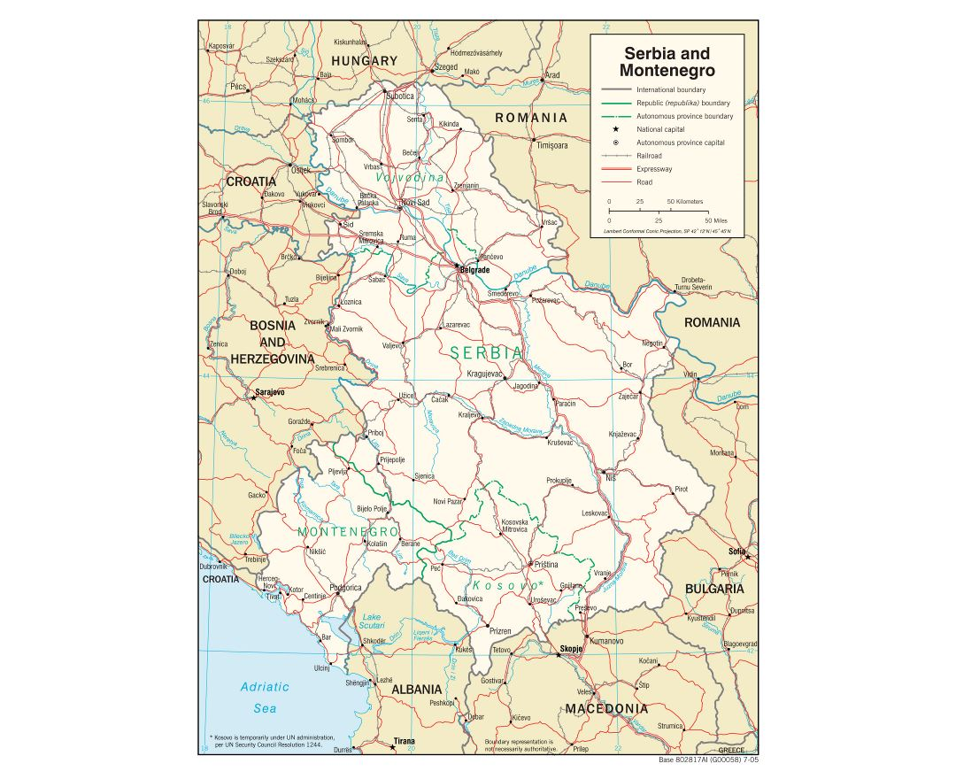 Large detailed political map of Serbia and Montenegro with roads, railroads and major cities - 2005