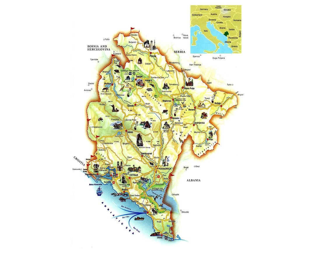 Montenegro On Europe Map.Maps Of Montenegro Collection Of Maps Of Montenegro Europe