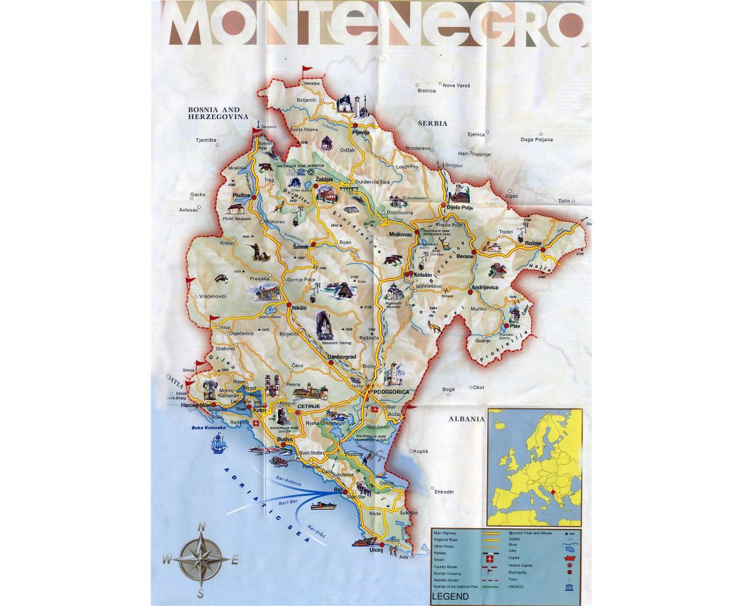 Large detailed tourist map of Montenegro with roads
