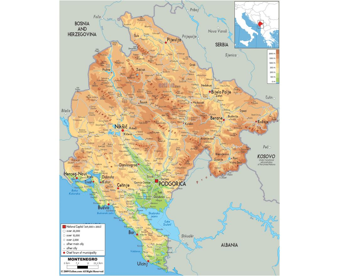 Large physical map of Montenegro with roads, cities and airports
