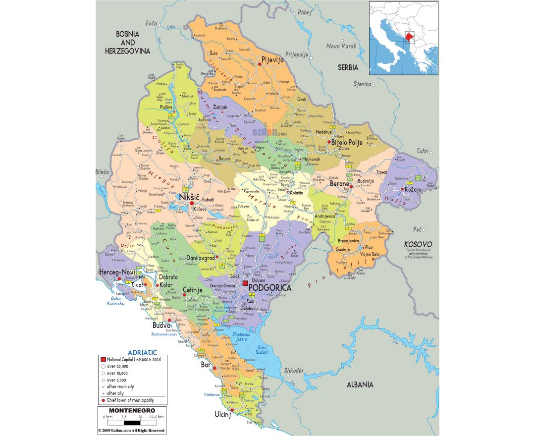 Large political and administrative map of Montenegro with roads, cities and airports