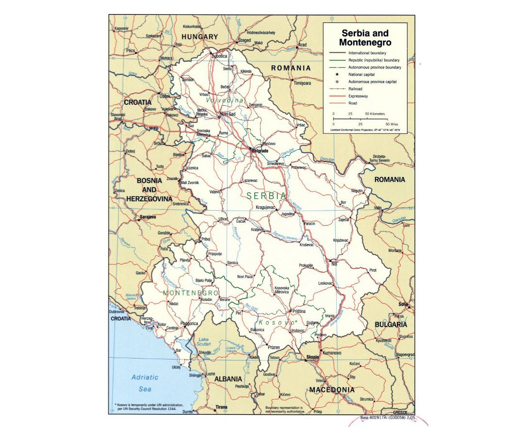 Large political map of Serbia and Montenegro - 2005