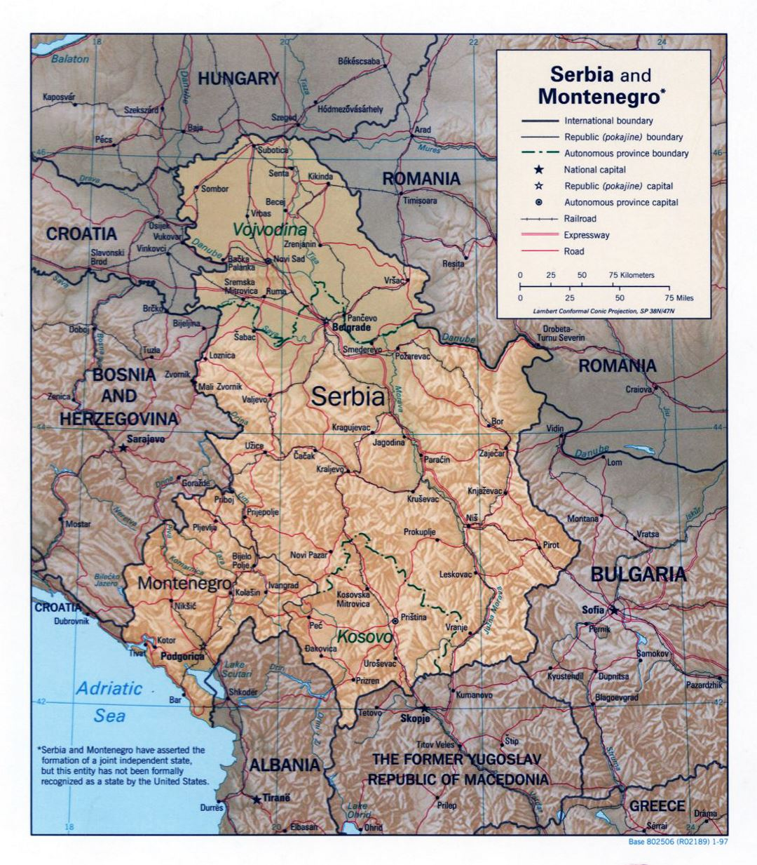 Large political map of Serbia and Montenegro with relief - 1997