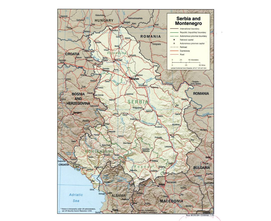 Large political map of Serbia and Montenegro with relief - 2005