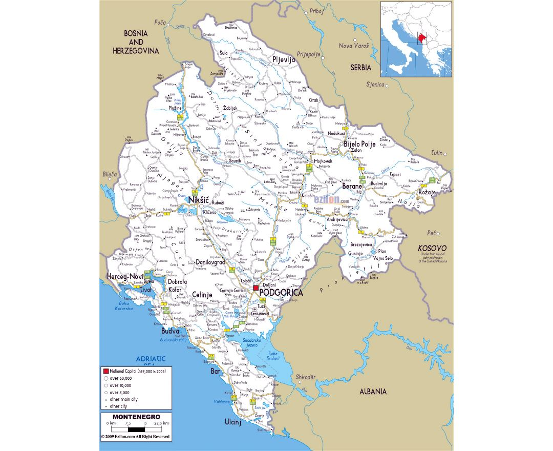Road Map Montenegro Maps of Montenegro | Collection of maps of Montenegro | Europe