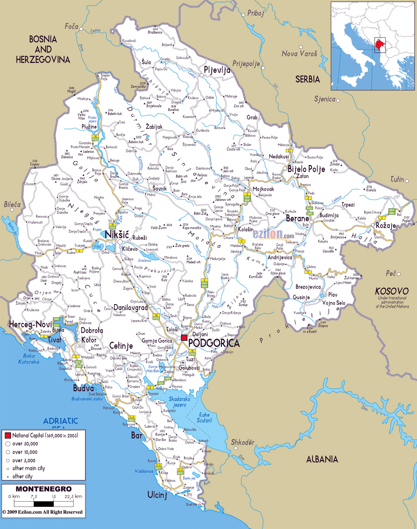 Road Map Montenegro Large road map of Montenegro with cities and airports | Montenegro