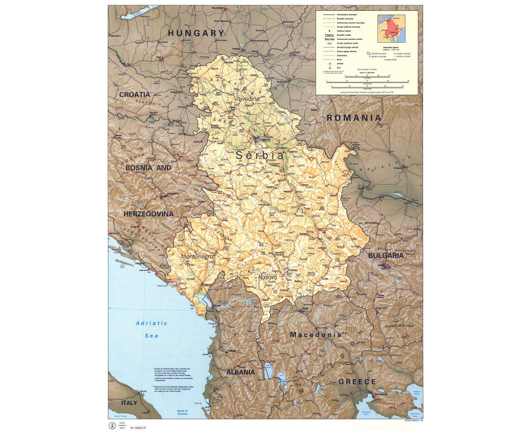 Large scale political map of Serbia and Montenegro with relief, roads, railroads, cities, airports and seaports - 1993