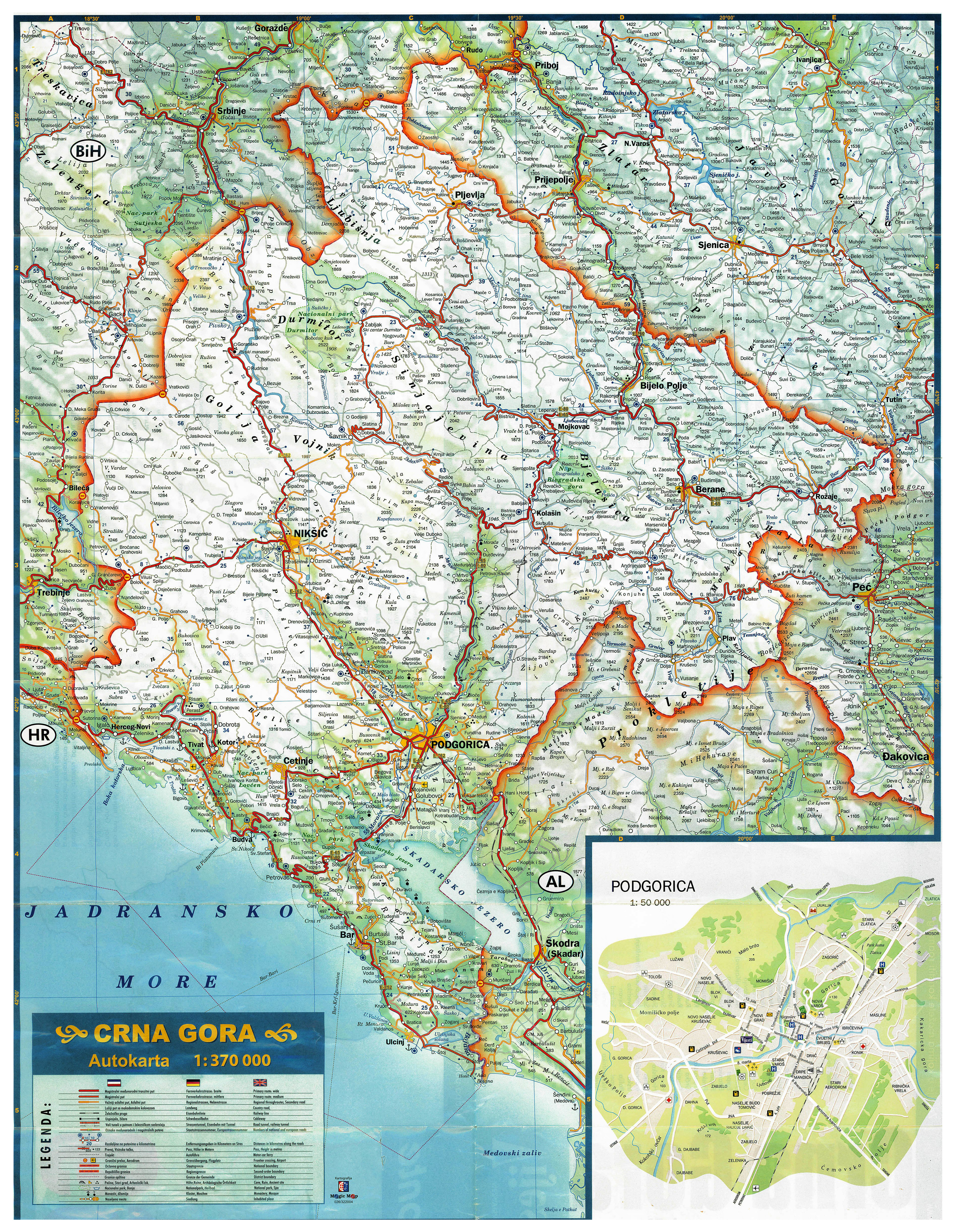 Large scale road map of Montenegro with all cities villages and