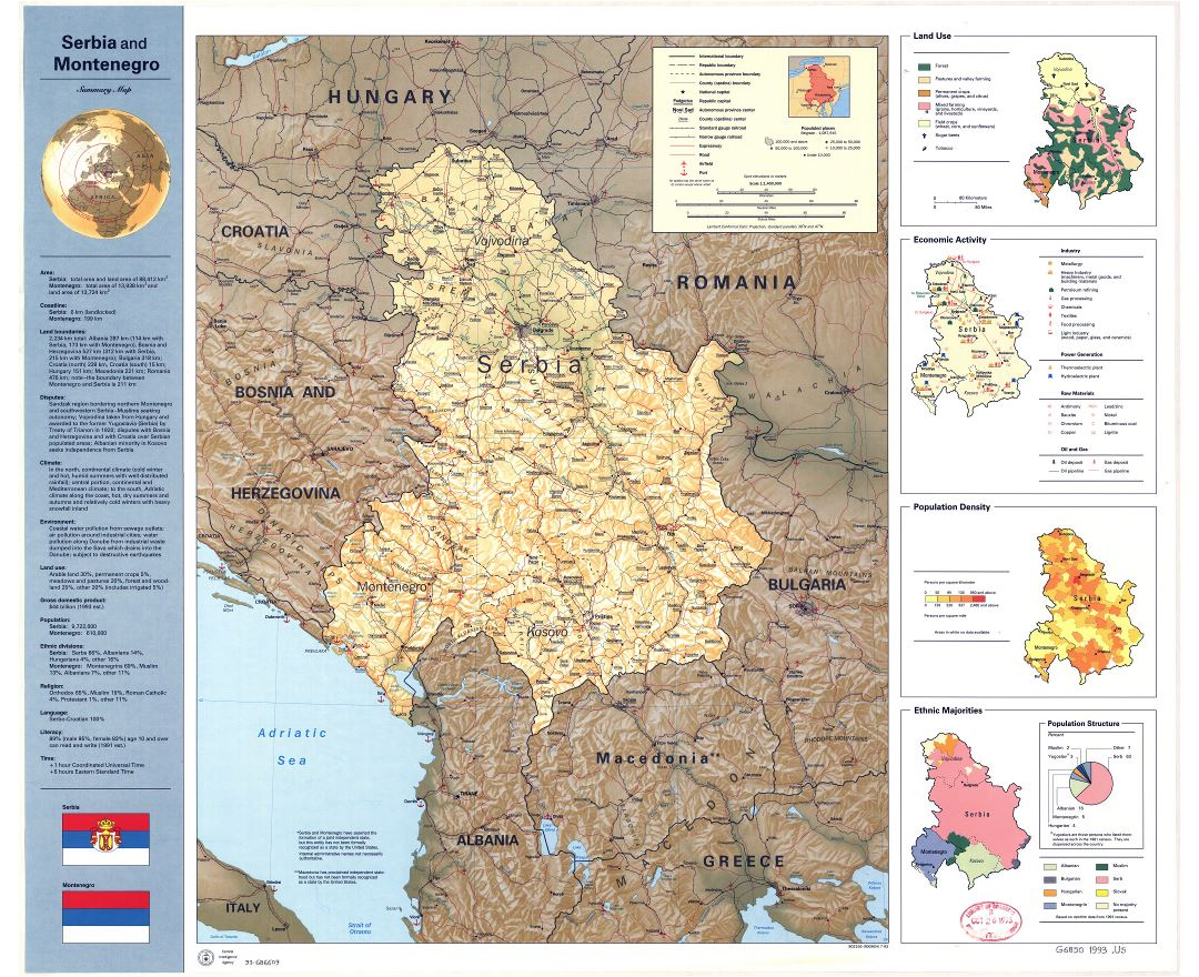 Large scale summary map of Serbia and Montenegro - 1993