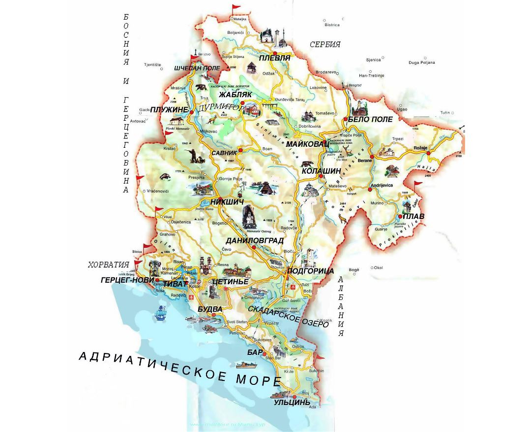 Large tourist map of Montenegro with russian marks