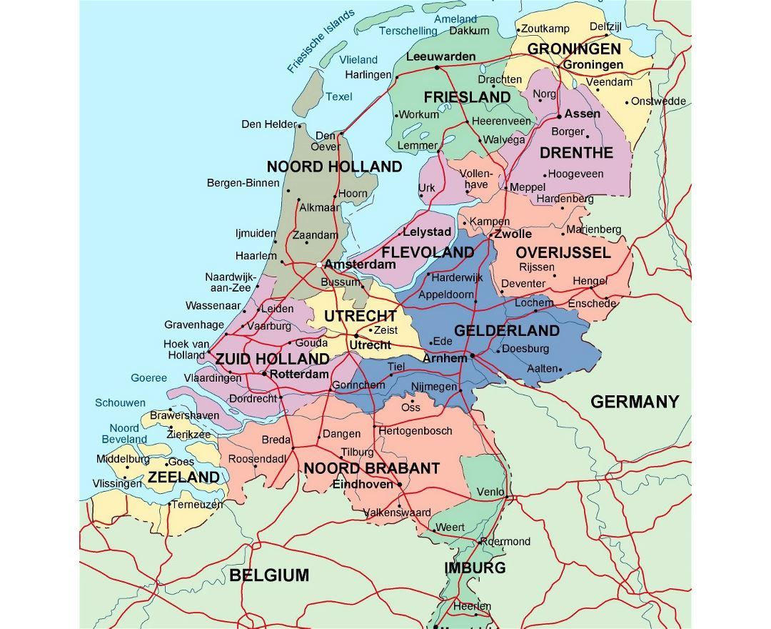detailed administrative map of netherlands with major cities