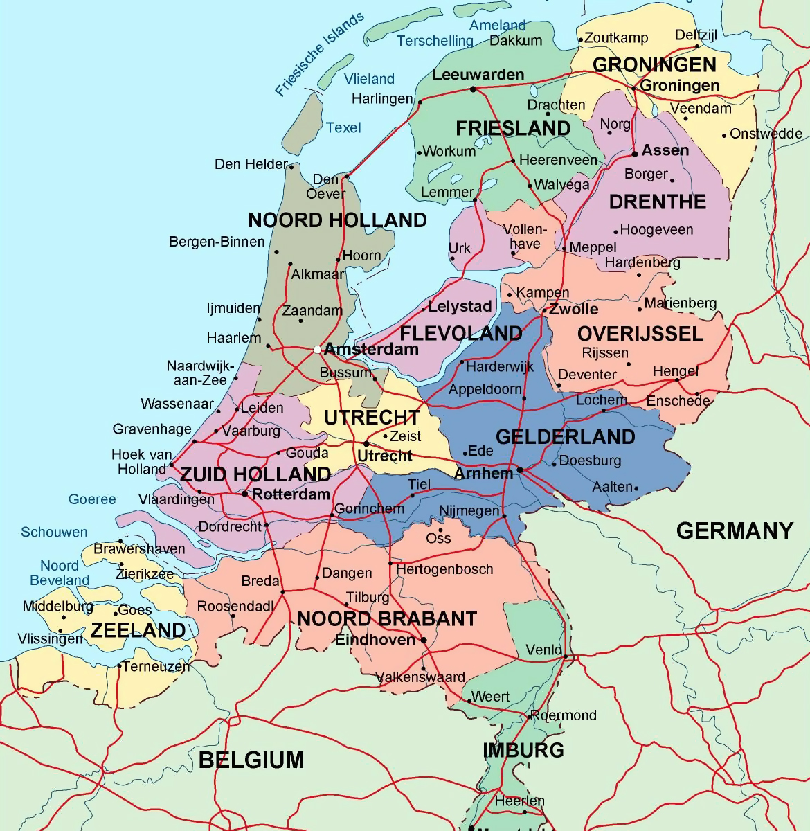 Detailed Administrative Map Of Netherlands With Major Cities - Germany map with major cities