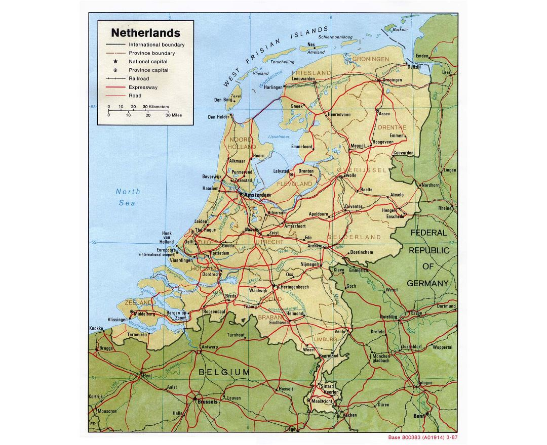 Detailed political and administrative map of Netherlands with relief, roads, railroads and major cities - 1987