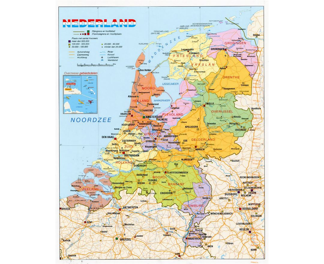 Maps of netherlands collection of maps of holland europe detailed political and administrative map of netherlands with roads cities and airports gumiabroncs Images
