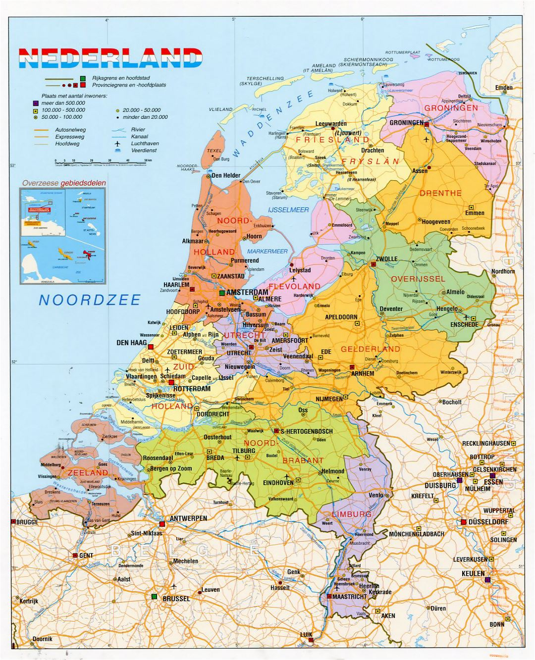Detailed political and administrative map of Netherlands with roads, cities and airports