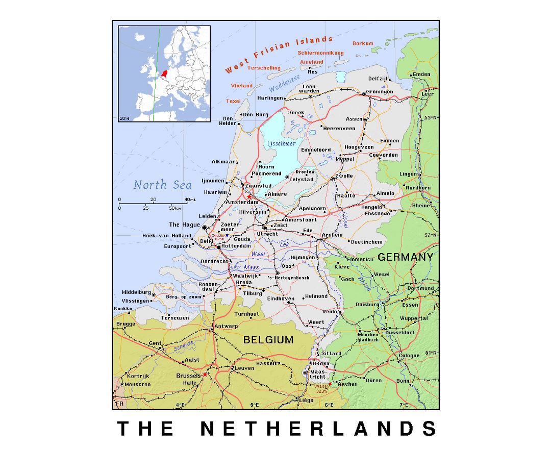 Detailed political map of Netherlands with relief