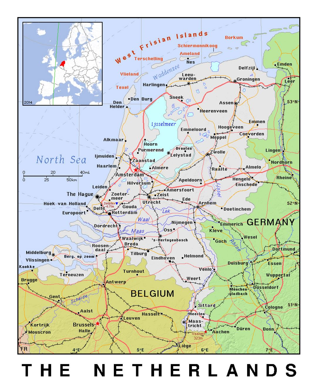 Detailed political map of Netherlands with relief Netherlands