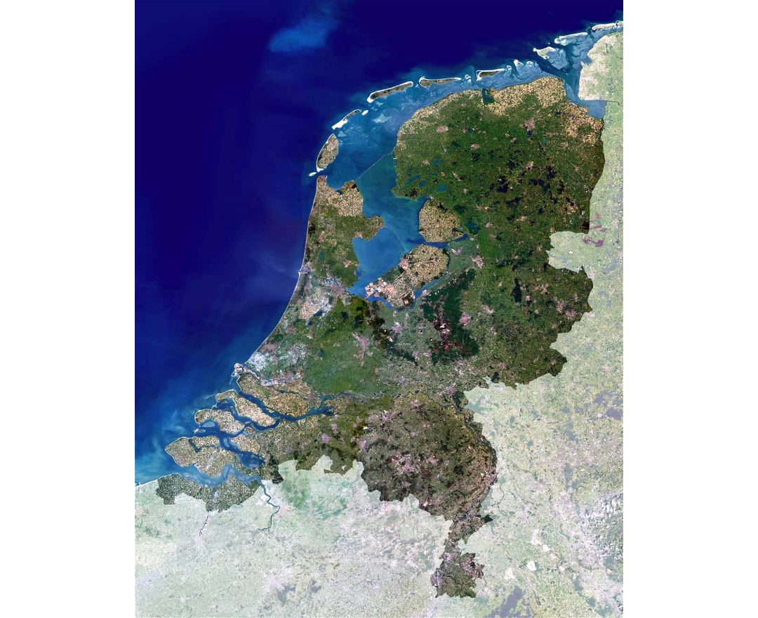 Detailed satellite map of Netherlands