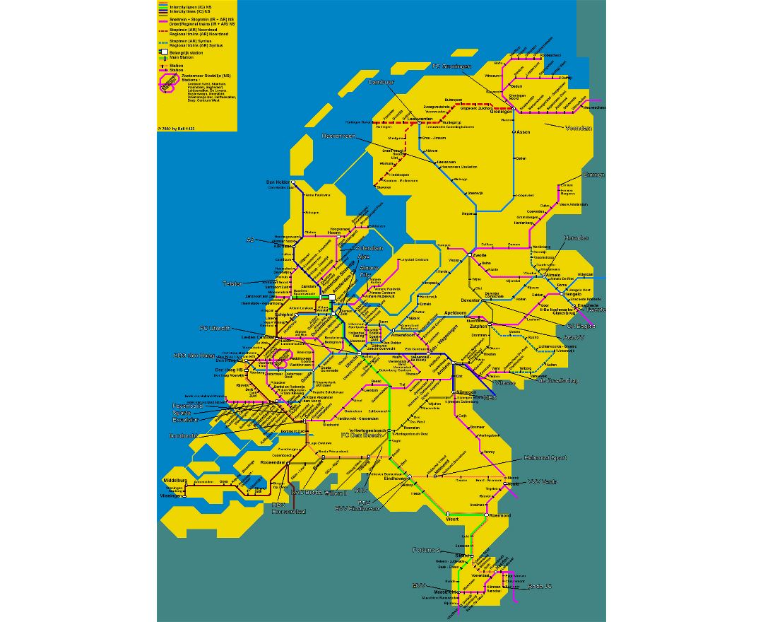 Detailed train map of Netherlands (Holland)