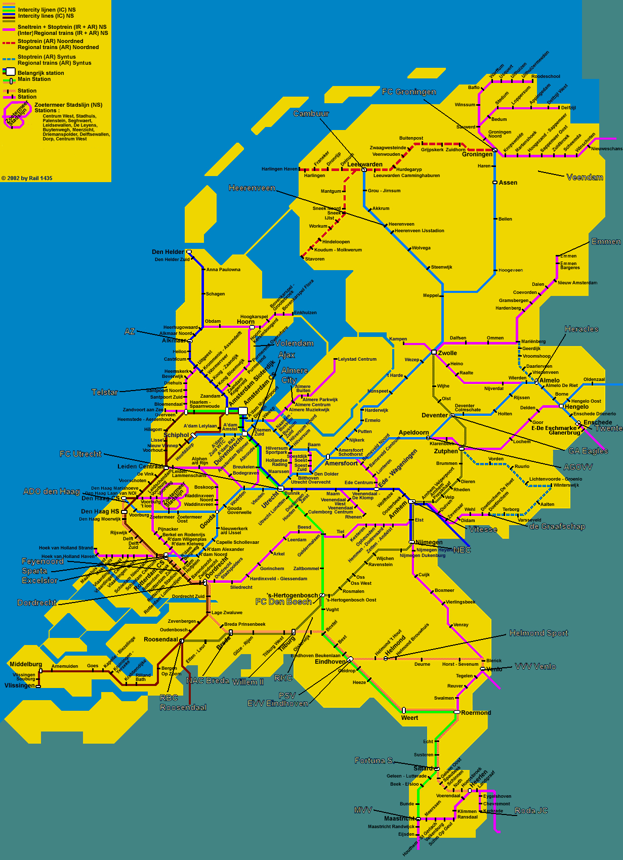 Detailed train map of Netherlands Holland Netherlands Europe