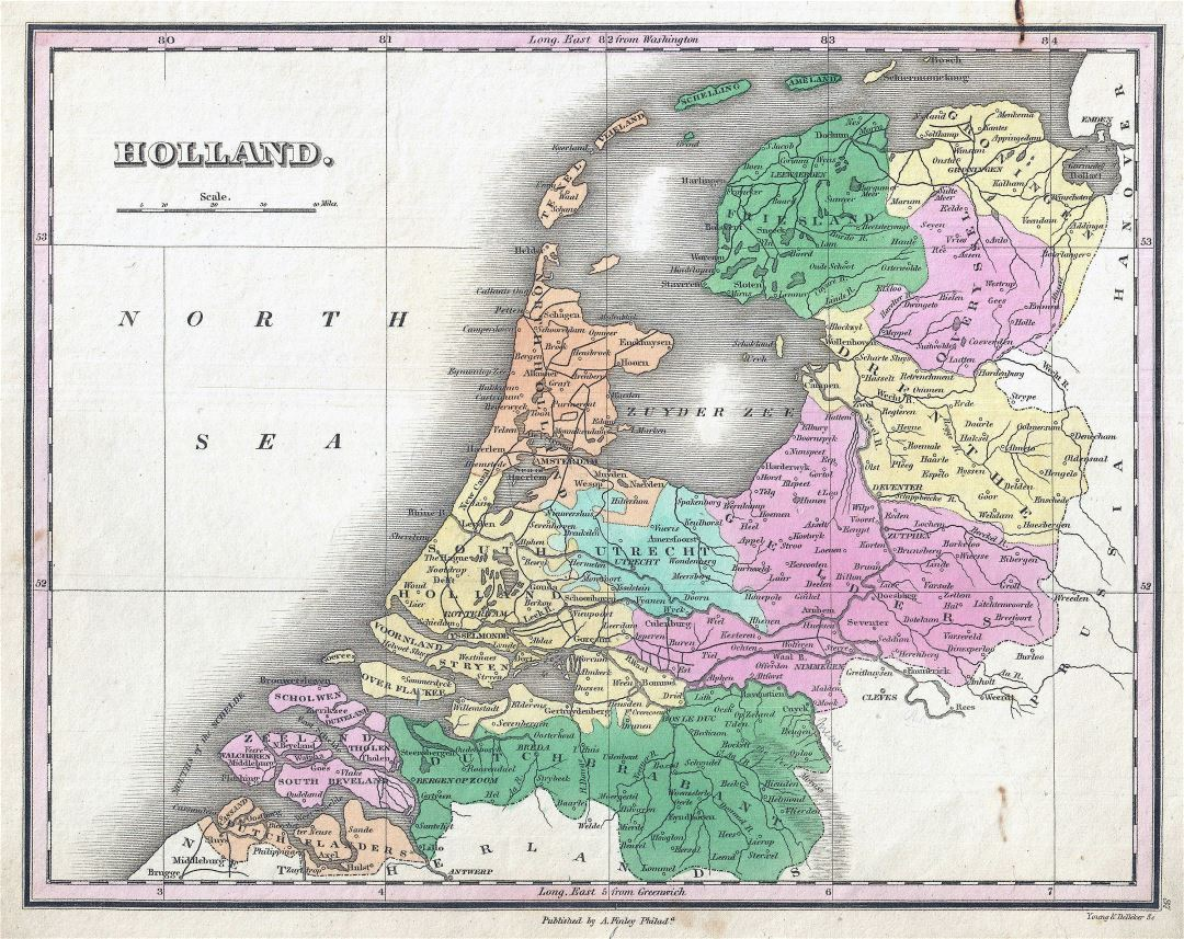Large detailed old political and administrative map of Netherlands with cities - 1827