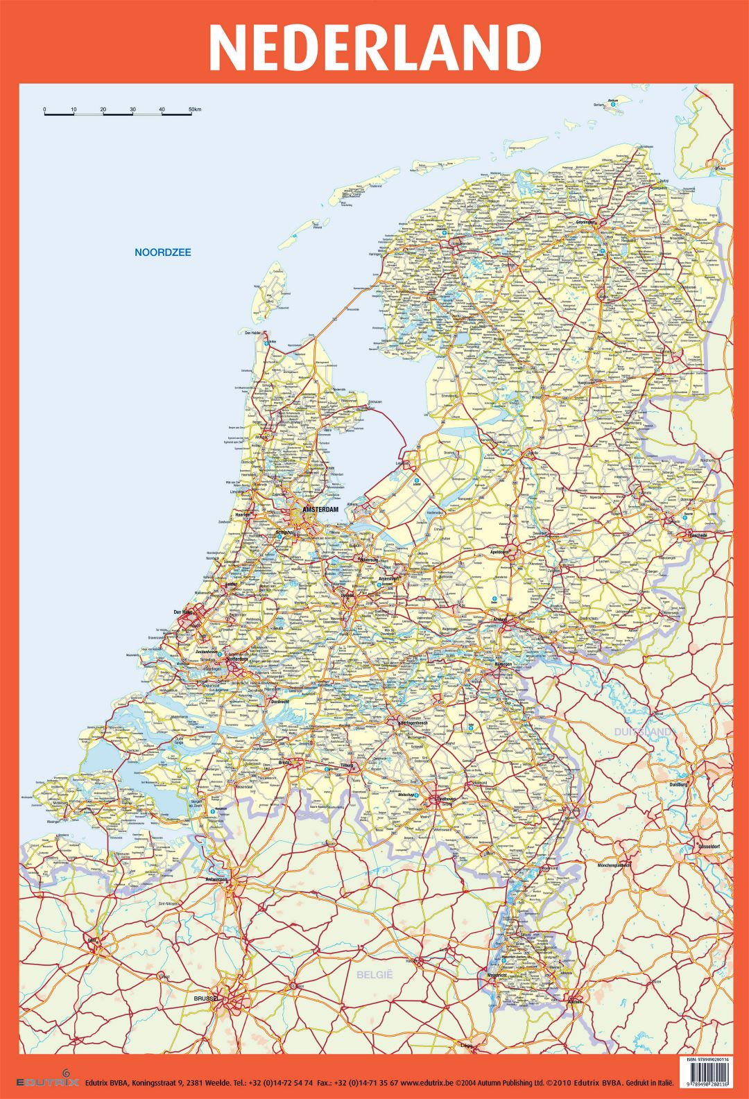 Large detailed road map of Netherlands